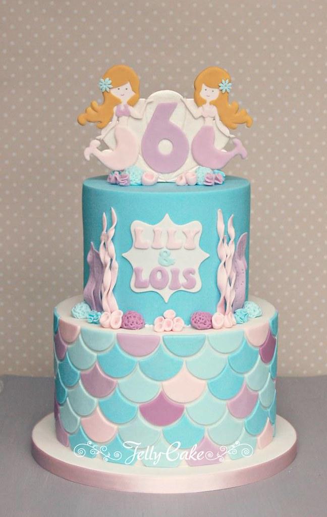 Mermaid Birthday Cake A Joint Birthday Cake For 2 School F Flickr