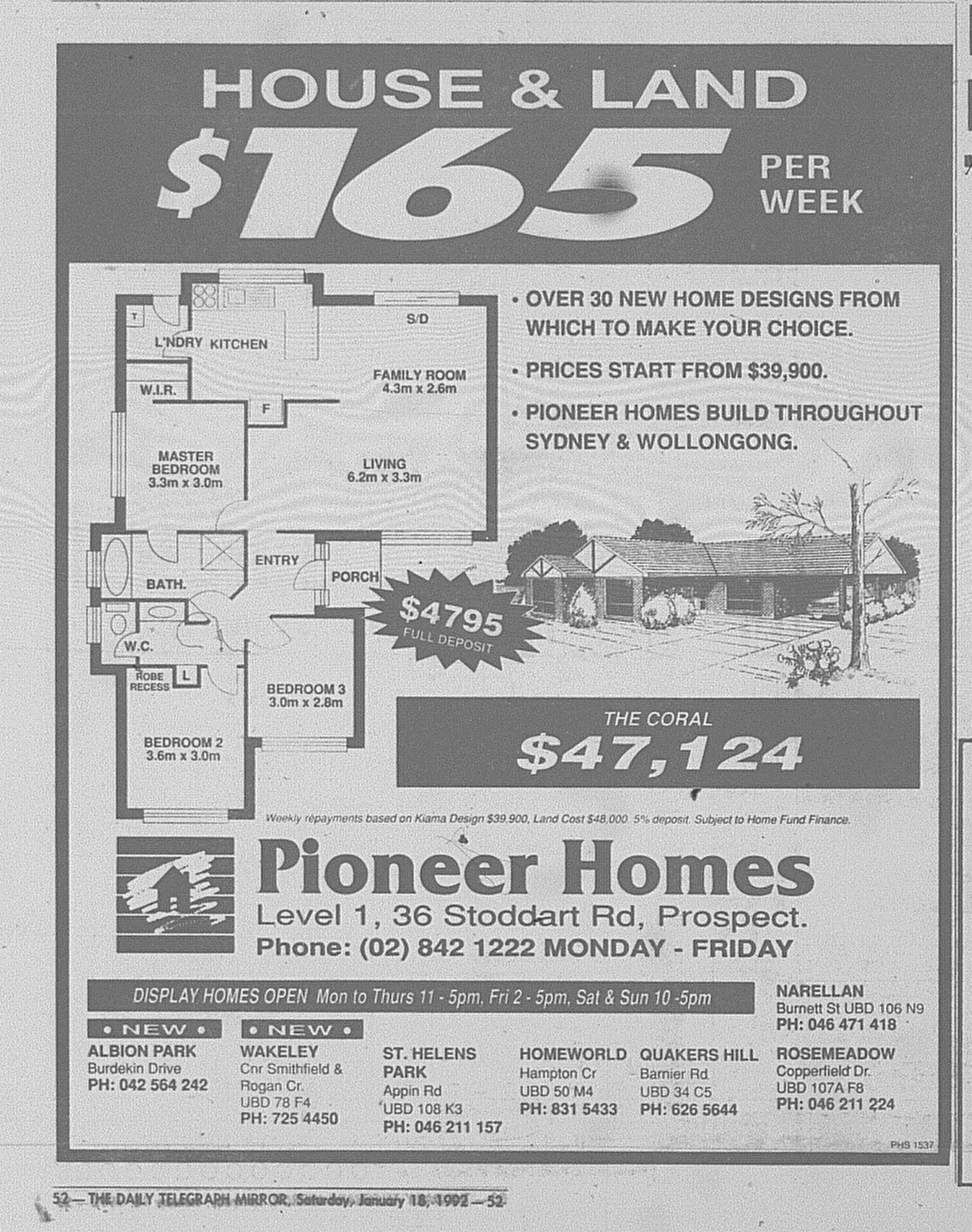 Pioneer Homes Ad January 18 1992 Daily Telegraph 52