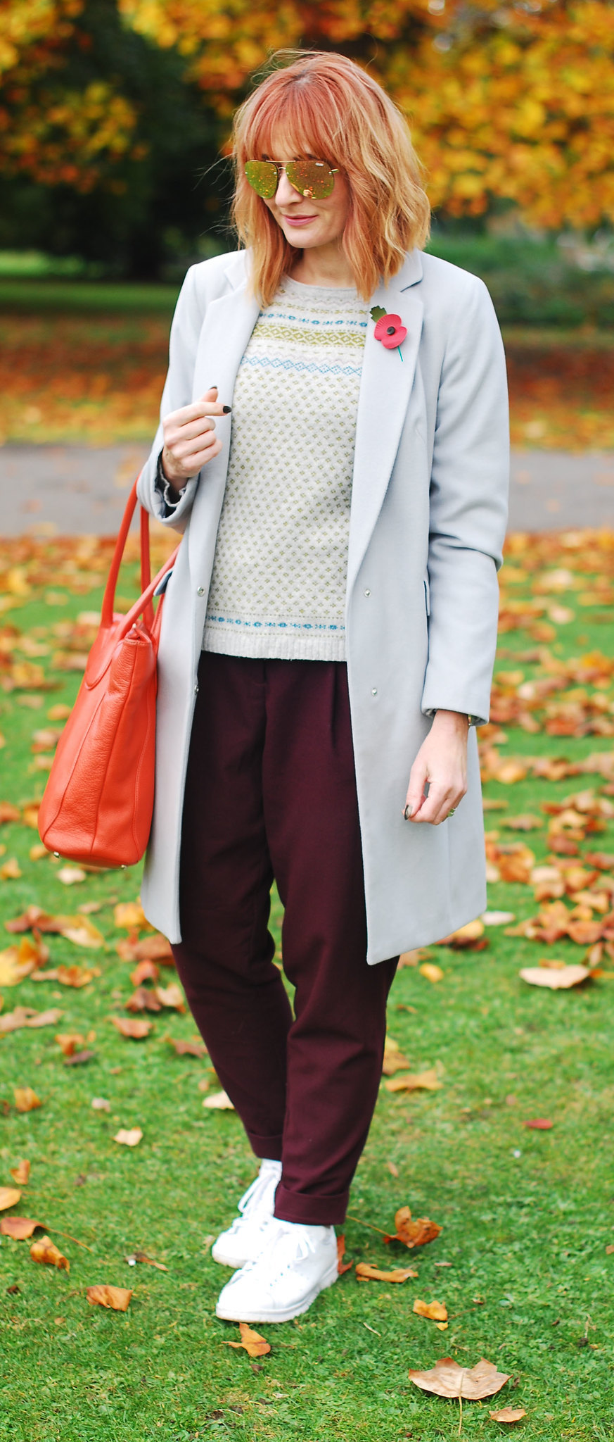 Autumn look fall outfit cold weather style grey duster coat, burgundy paper bag trousers, white Stan Smith sneakers, Fair Isle sweater | Not Dressed As Lamb, over 40 style