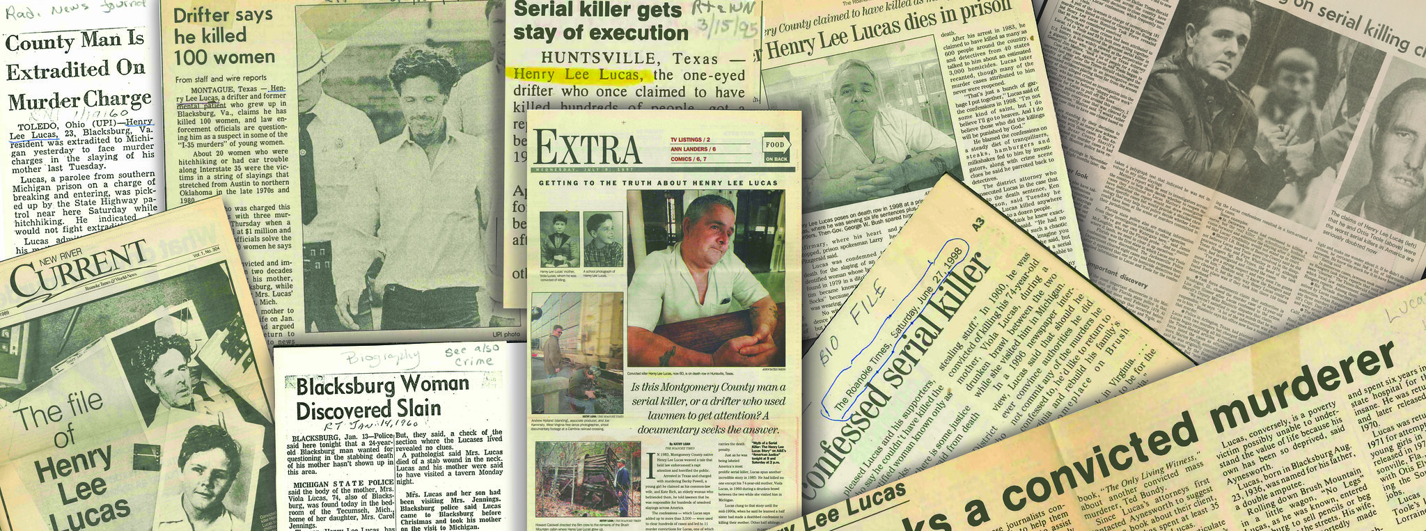 An illustration of newspaper clippings piled on top of each other, with headlines ranging from