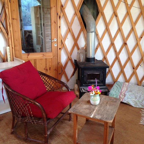 We are moving into my mom's charming little yurt today! Here is a view of the inside.