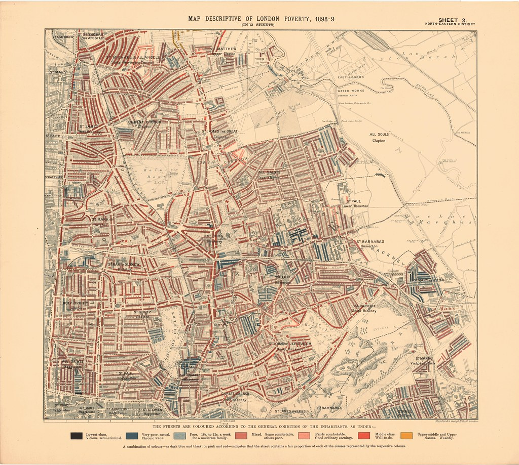 north eastern district printed map descriptive of london poverty 1898 1899 sheet 2 north eastern district