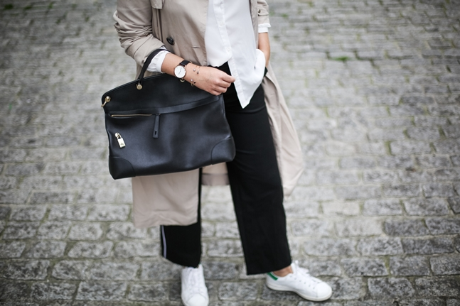 trench beige la redoute with suit pants adidas stan smith streetstyle furla
