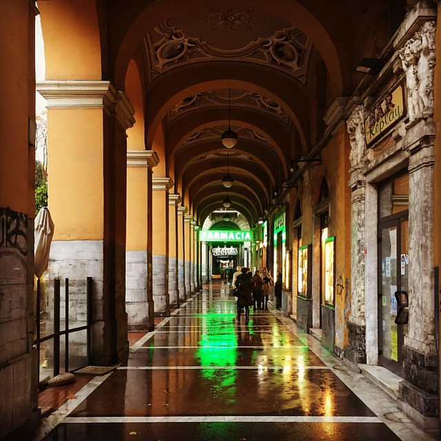 La Spezia colonnade in the rain