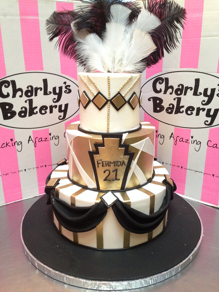 3 Tier Great Gatsby Themed 21st Birthday Cake In Black Wh Flickr