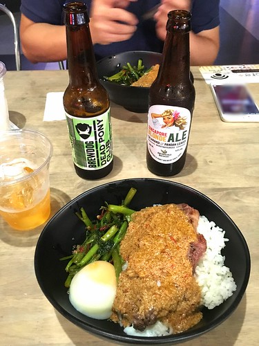 beef rendang, onsen egg, Brewdog's Dead Pony Club, Archipelago's Singapore Blonde Ale. Timbre+, one-north, Singapore