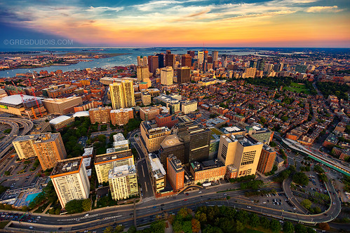 Aerial View Of Boston Skyline At Sunset From Helicopter Wi