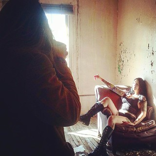 10.19.2015 Another behind the scenes shot I, #MikeOToole took while assisting Film director/photographer John Hartman with his shoot with my friend/ #almodel @xmissmarymackx. This was shot in an abandoned building once used as a state mental hospital. On | by MikePhelanOToole.com