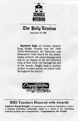 Art Educator Wins National Awards - Daily Review Newspaper 1996 | by Award-winning Artist & Art Educator