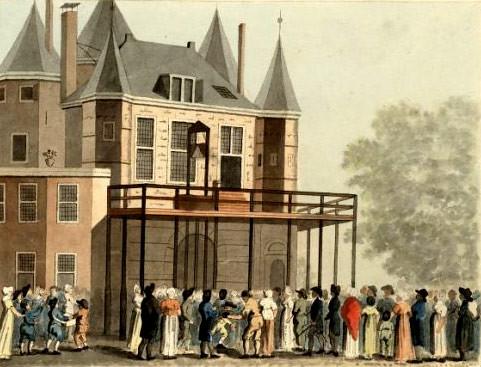Guillotine sur la place de Nieuwmarkt à Amsterdam contre l'ancienne balance (den Waag).
