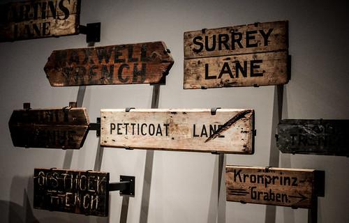 Petticoat Lane Trench Signs At The Ww1 Centenary Exhibitio U2026