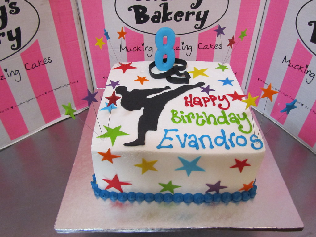 Karate Themed 8th Birthday Cake With Silhouette On Top S Flickr