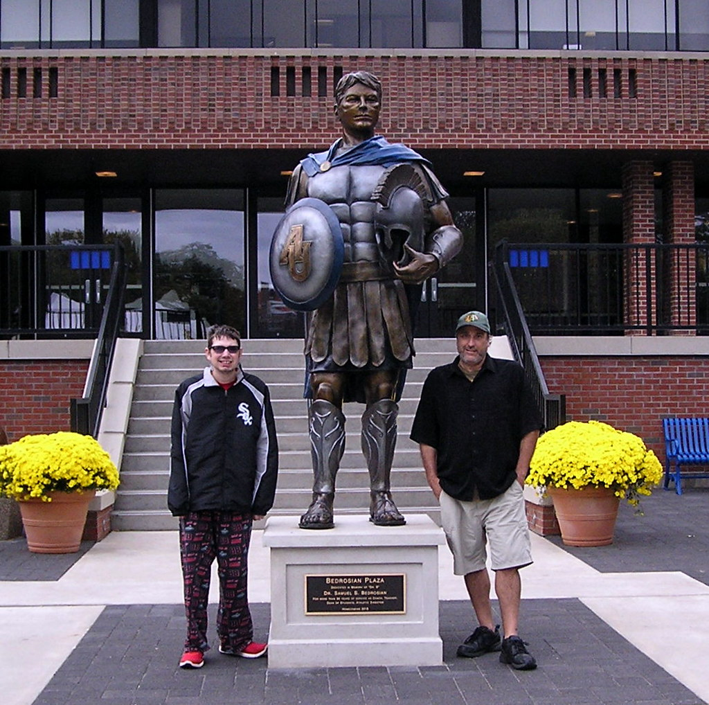 aurora university spartan statue me and my dad hanging by flickr