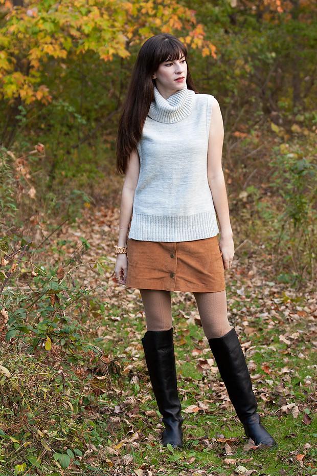 Sleeveless Turtleneck Sweater, Suede Skirt, Black Knee High Boots