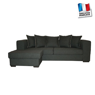 Canapé d'angle VISTA Chenille anthracite (face) G