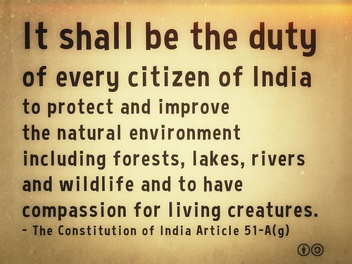 It shall be the duty of every citizen of India to protect and improve the natural environment including forests, lakes, rivers and wildlife and to have compassion for living creatures - Constitution of India