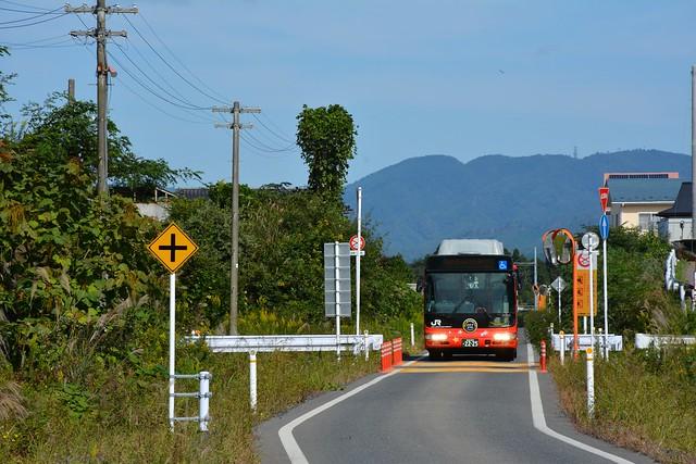 専用道路を走る気仙沼BRT
