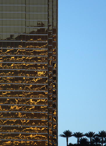 Gold glimmer on a glass building in Las Vegas