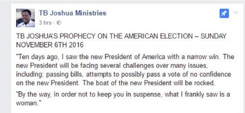 TB Joshua Deleted Facebook Post
