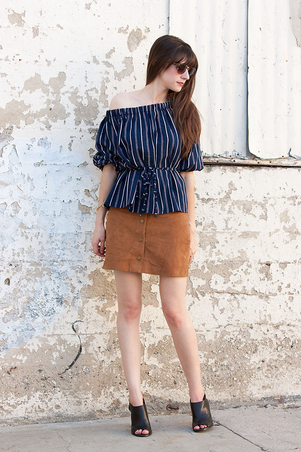 Suede Skirt, Off the Shoulder Top, 70's Style, Mules