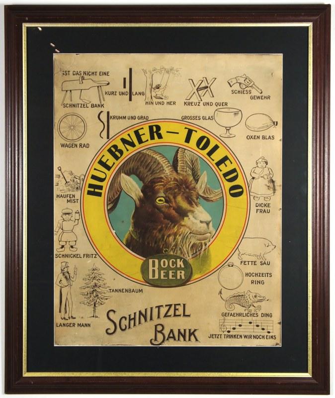 Huebner-Bock-Schnitzelbank-Lithograph-Signs-Pre-Pro-Huebner-Toledo-Breweries-Co-Huebner-Brewery
