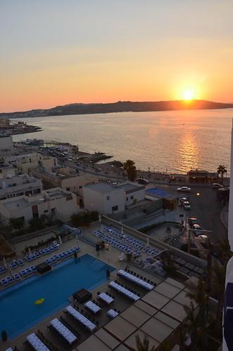 Sonnenuntergang am Hotel in Buggiba