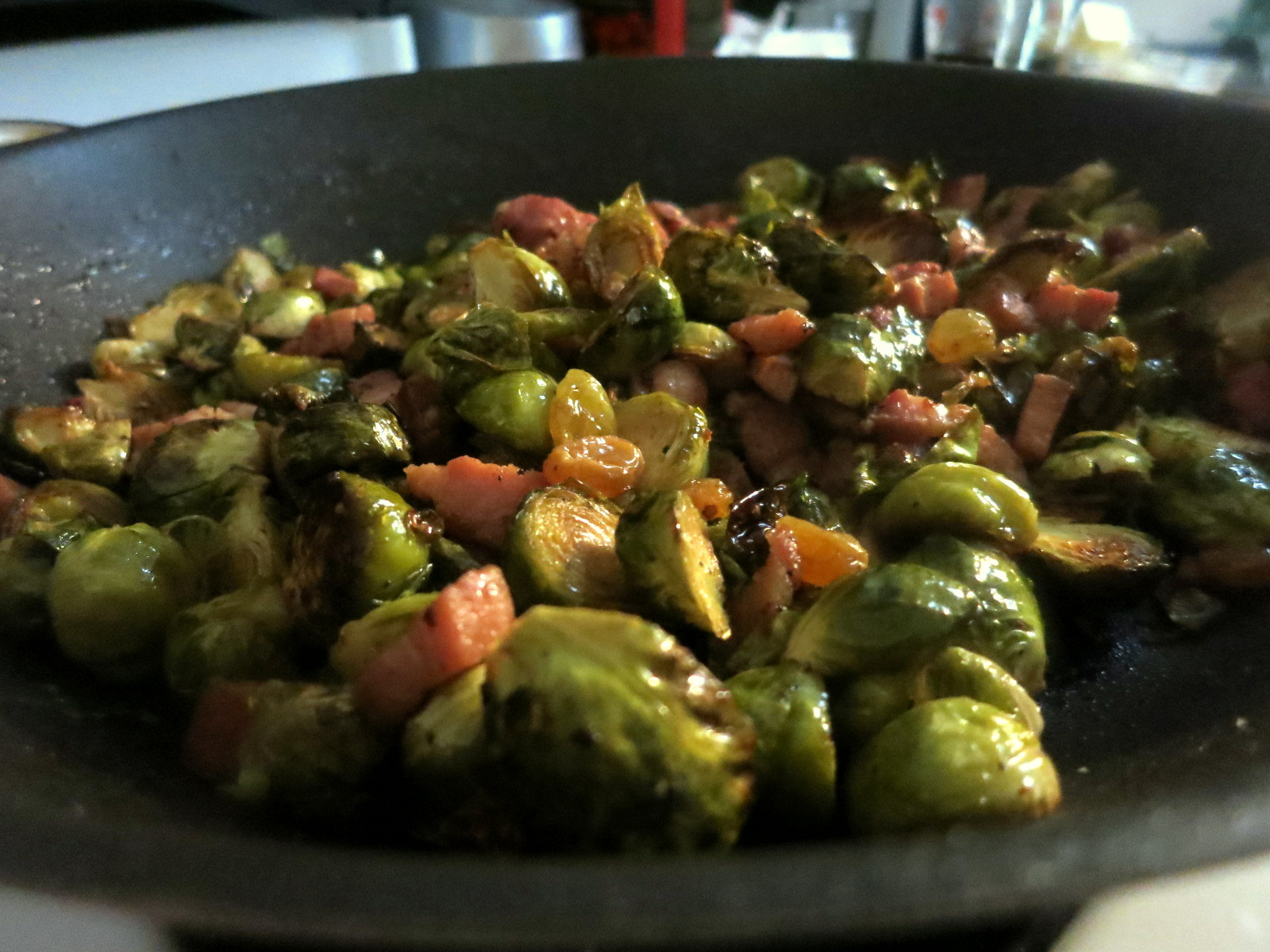 Brussels sprouts with pancetta and golden raisins