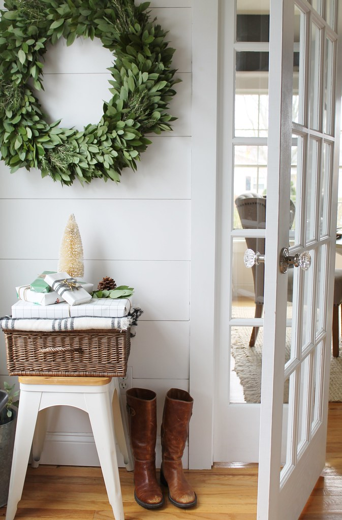 Clean Festive Holiday Wreath Front Door
