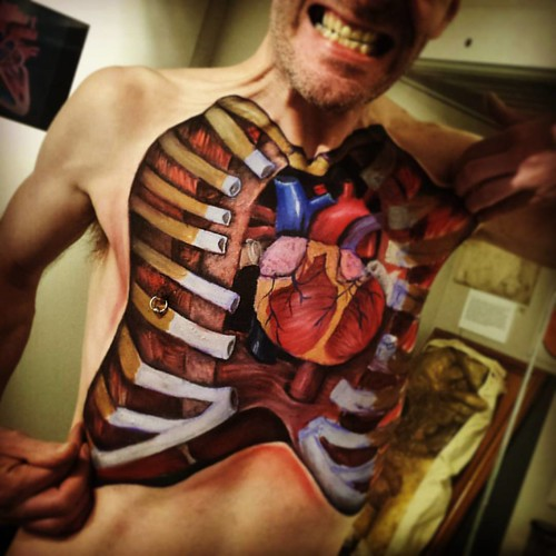 anatomical body painting full chest explosion in honour o