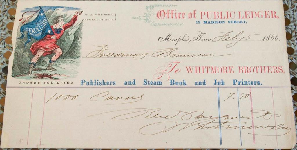 ... 1866 receipt from Public Ledger newspaper 021077628d