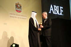 Tun Abdullah Ahmad Badawi, Former Prime Minister, Malaysia, receiving the ABLF Statesman Award from H.H. Sheikh Nahayan Mabarak Al Nahayan, Minister of Culture and Knowledge Development, UAE