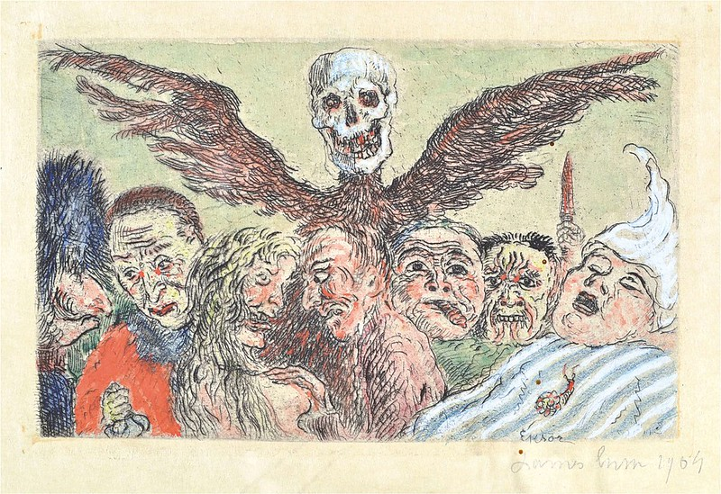 "James Ensor - The Deadly Sins dominated by Death, from ""The Seven Deadly Sins,"" colored version 1, 1904"
