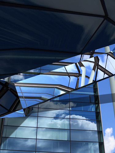 In Rotterdam, clouds reflected in geometric shapes using the photo app Matter