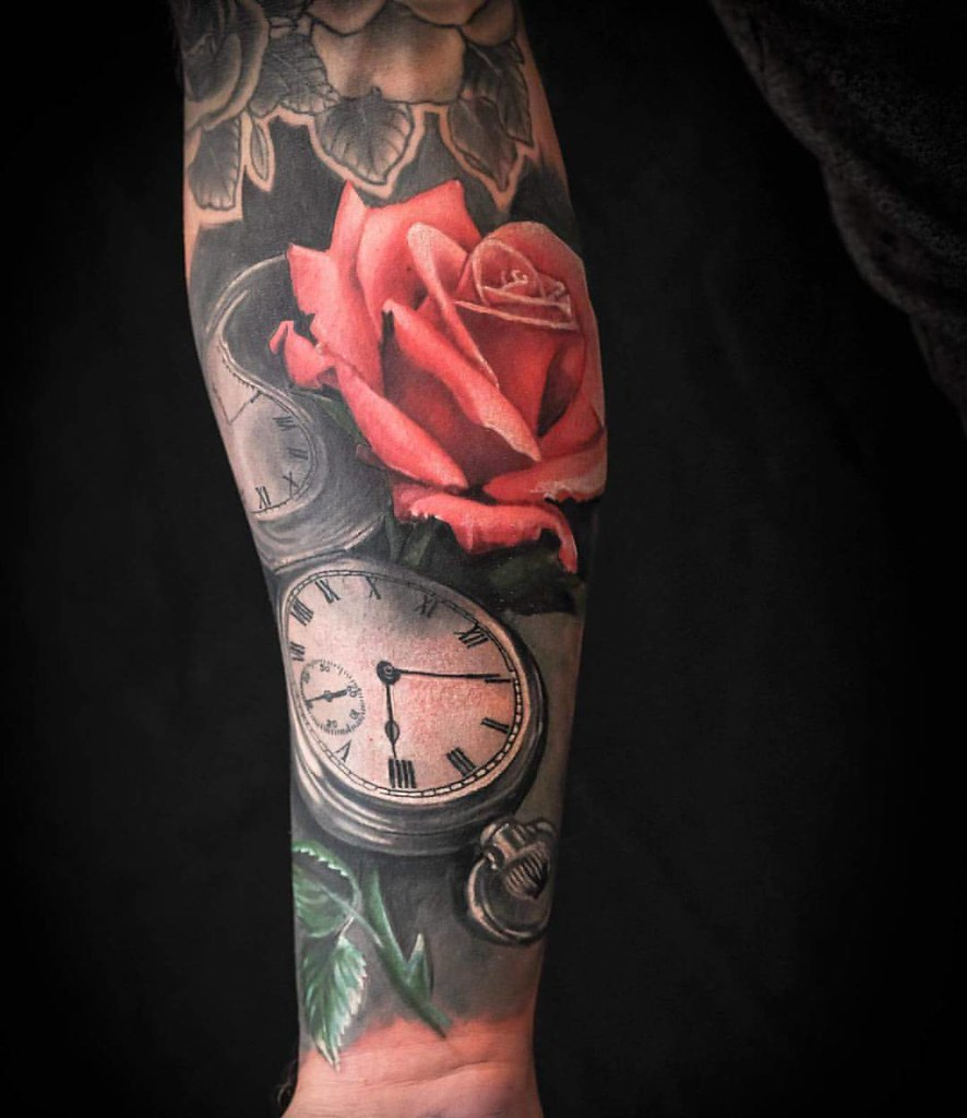Red Rose Tattoo Pocket Watch Tattoo Sleeve In Progress By Flickr