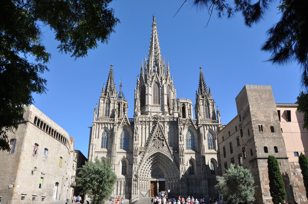 Cathedral Church Of The Holy Cross And Saint Eulalia Neo Gothic Facade