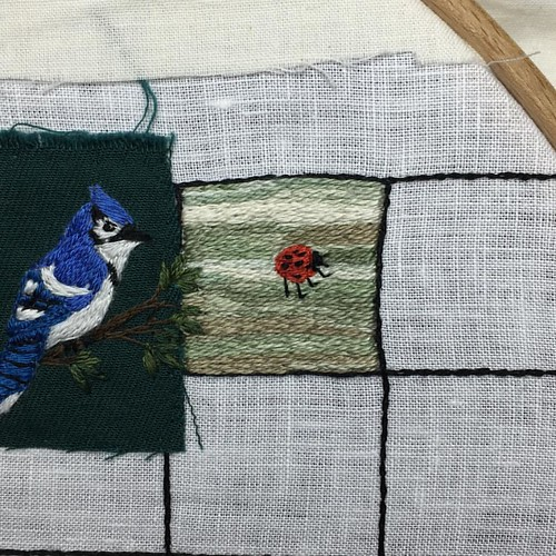 Oct 2/15 #embroidery #embroideryart #broderie #ladybug #luck #cometogether #torontobluejays #toronto #ontario | by obliquepoet