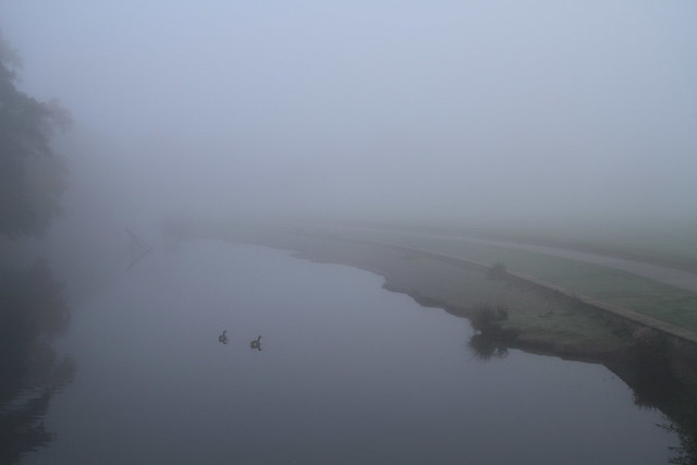 River Aire, Saltaire in the mist