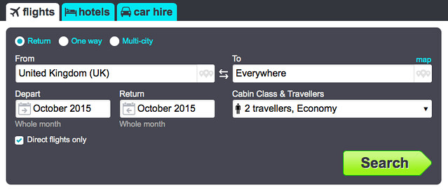 Skyscanner search