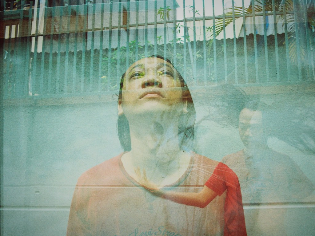 Model portrait double exposure film photography 35mm film people queenstreet kodakgold200 ricoh kr 5