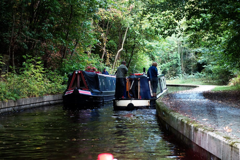 Canal boats on Llangollen Canal, Wales