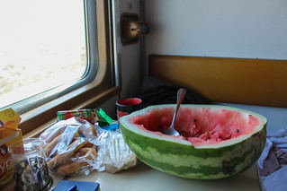 "Watermelon on board night train ""Uzbekistan"" Moskva-Toshkent 