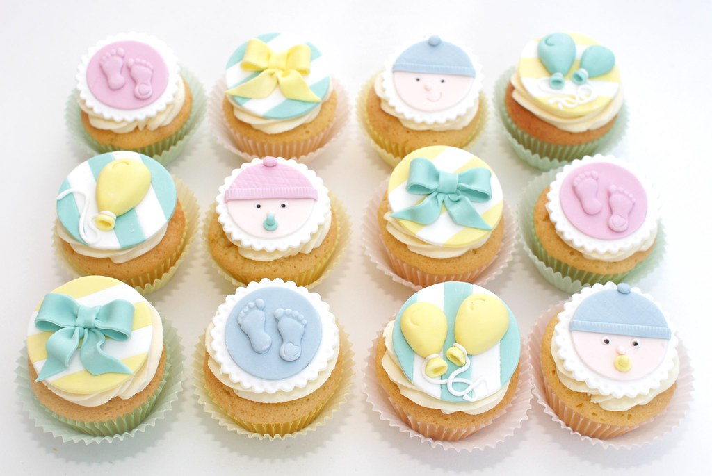 Pastel Baby Shower A Set Of Cupcakes With Handmade Decorat Flickr