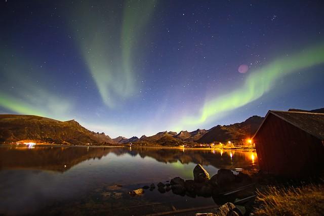 Stars, aurora and reflections in Norway's Lofoten Islands