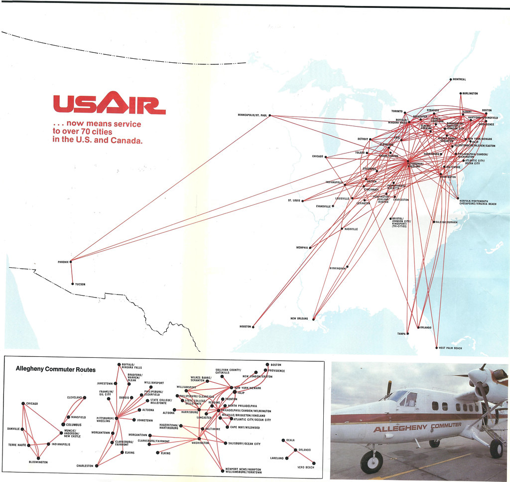 Allegheny Is USAir Route Map The First USAir Route M Flickr - Us airways direct flights map