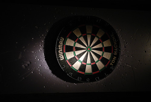 Well-used dartboard in a Brussels pub, Belgium