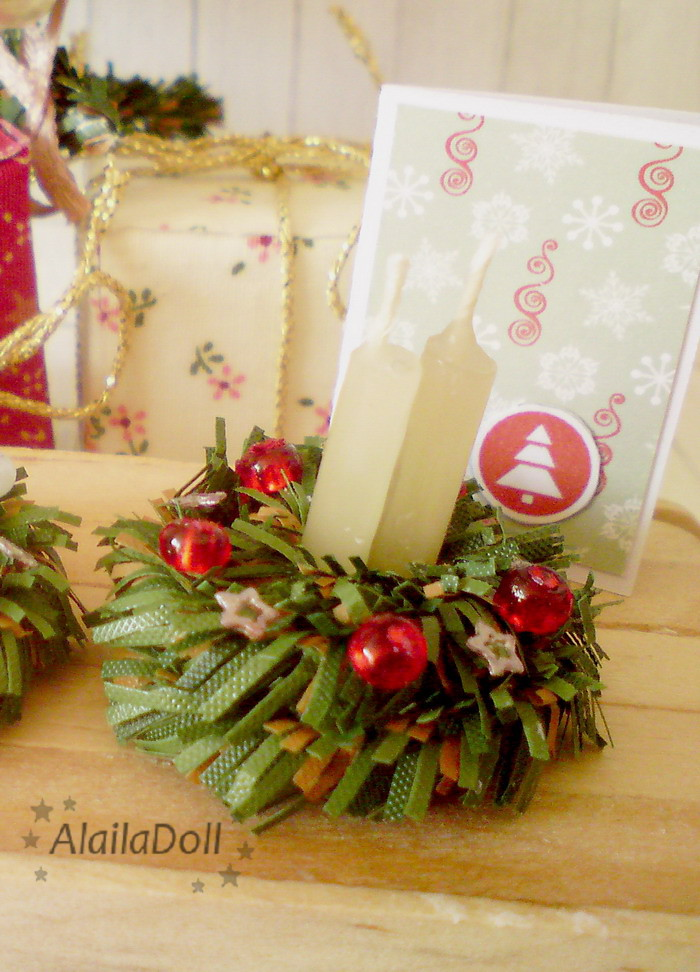 miniature xmas decorations beige candles christmas wreath by alailadoll