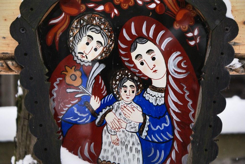 Peinture sur verre typique des Carpates.