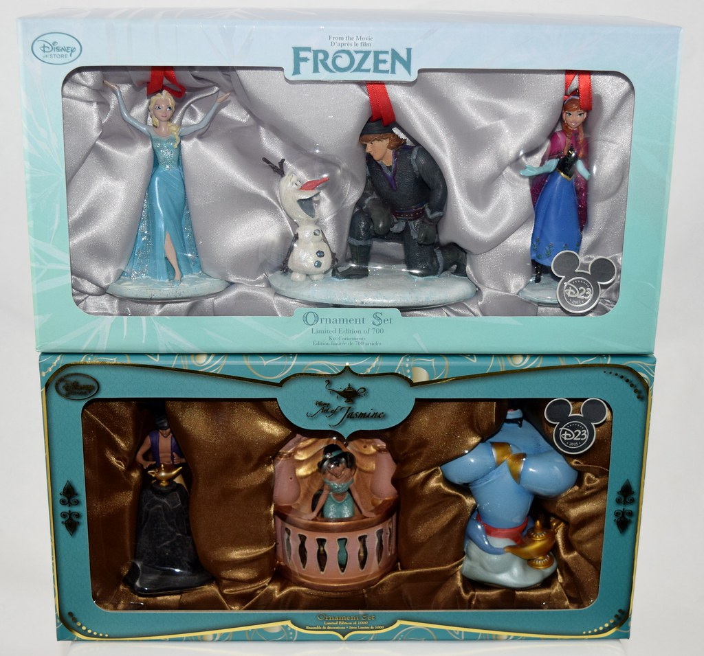 Disney ornament sets -  Frozen And Art Of Jasmine Limited Edition Ornament Sets D23 Expo 2015 Disney Store