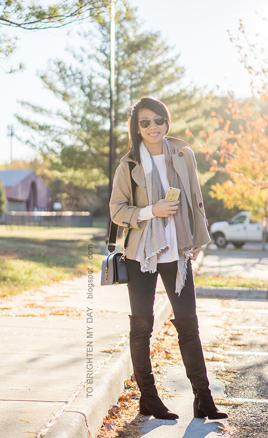 camel trench cape, light pink sweater, plaid scarf, black skinny jeans, brown suede over the knee boots