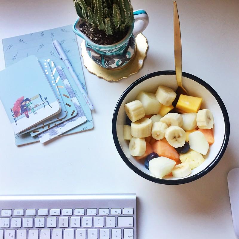 Fruta con aceite de coco